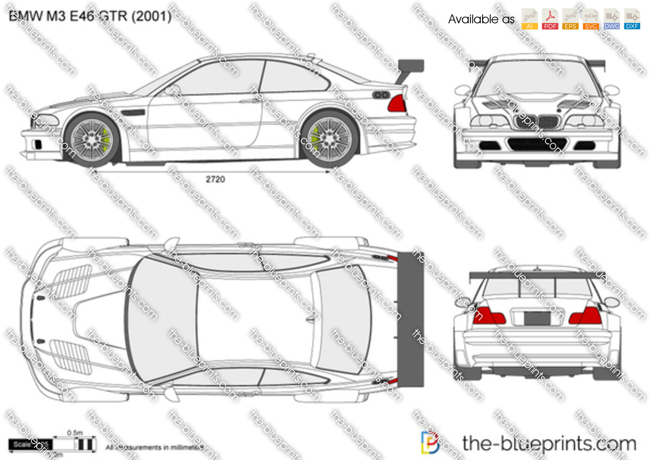 Bmw M3 E46 Gtr Vector Drawing