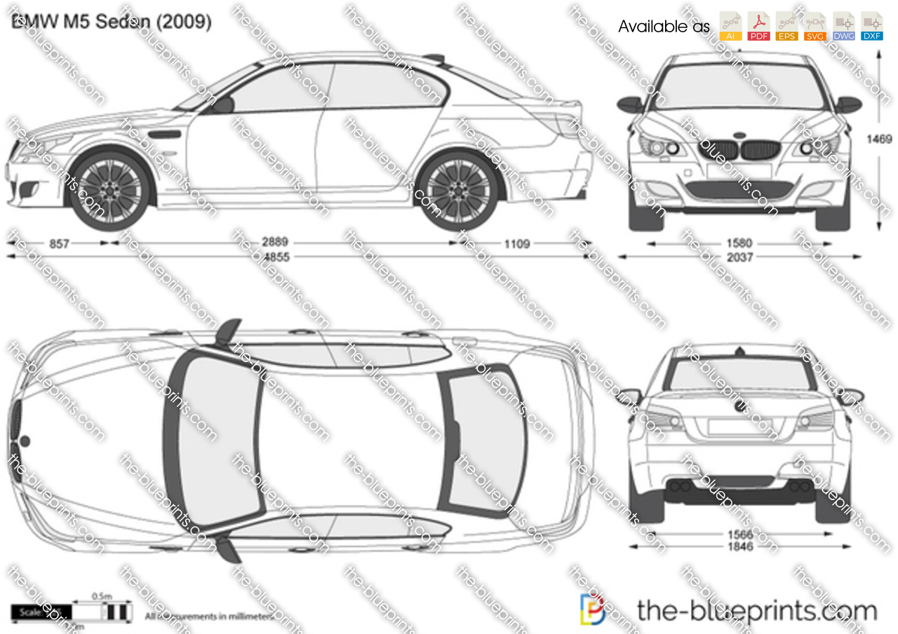 bmw m5 sedan e60 vector drawing