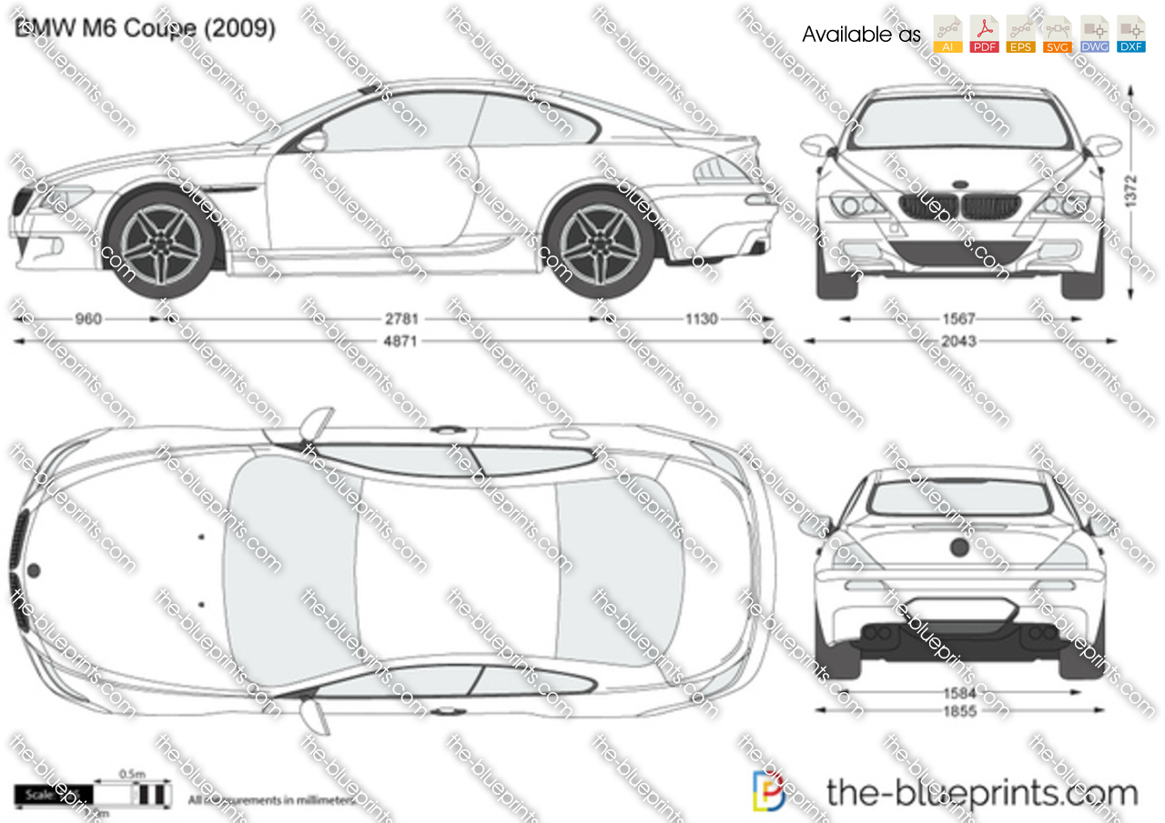 bmw m6 coupe e63 vector drawing