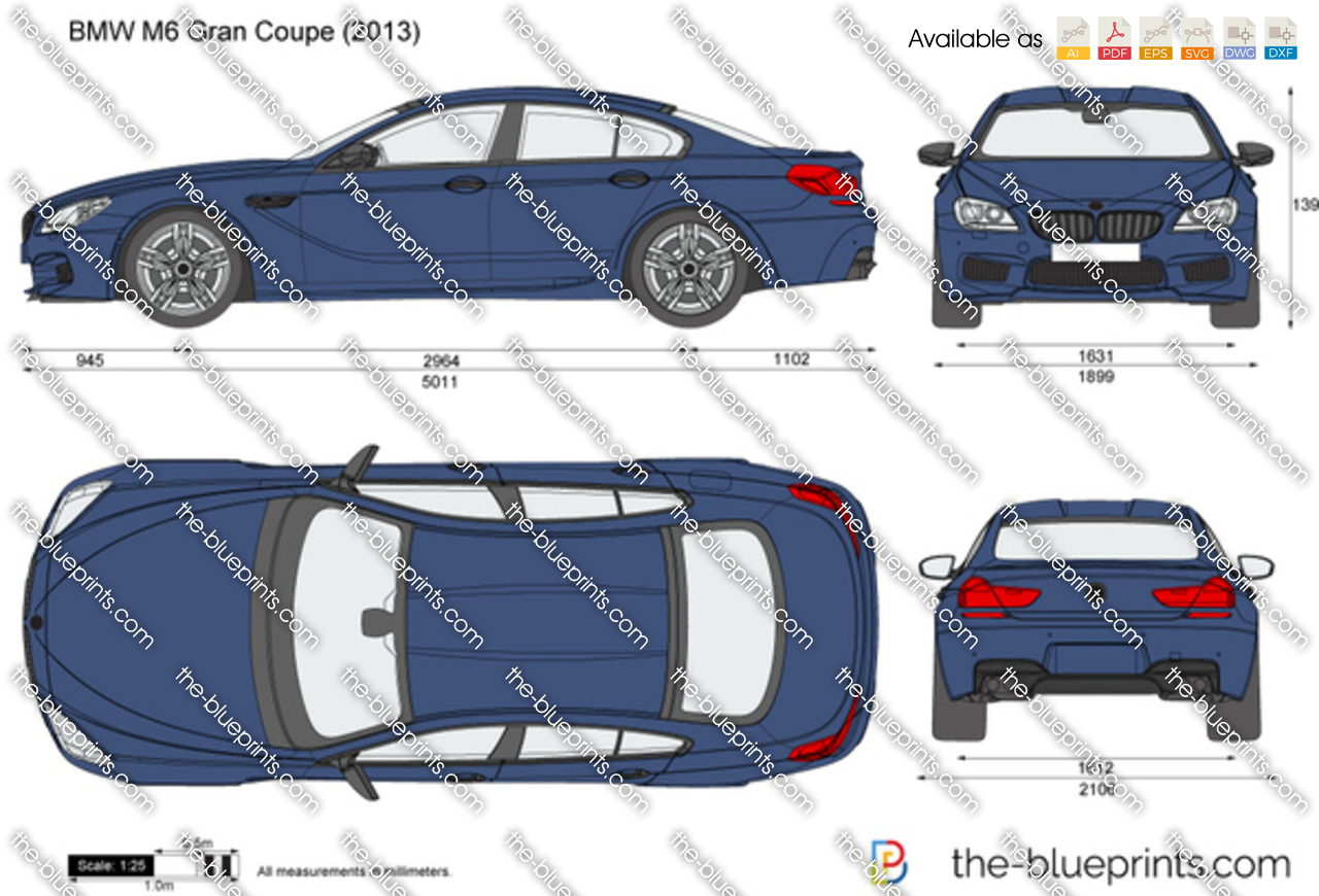 Bmw M6 Gran Coupe F06 Vector Drawing