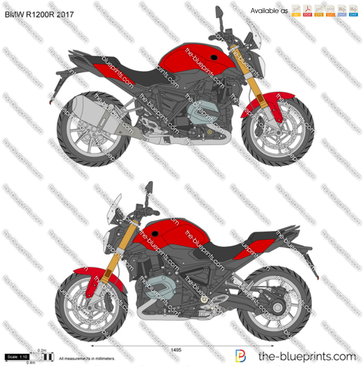 bmw r1200r 2017 vector drawing. Black Bedroom Furniture Sets. Home Design Ideas