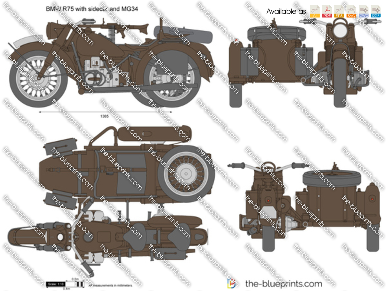 BMW R75 with sidecar and MG34