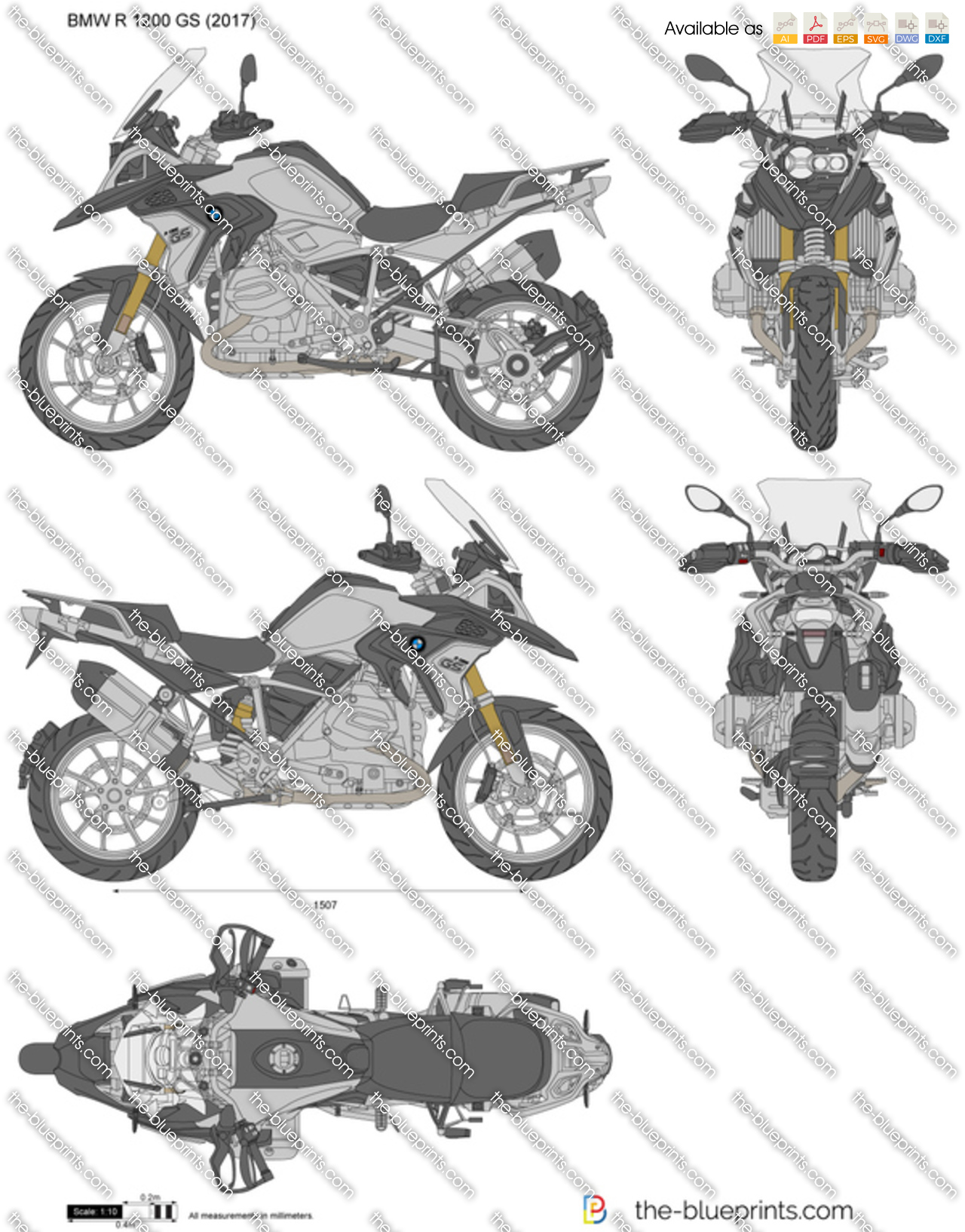 bmw r 1200 gs vector drawing