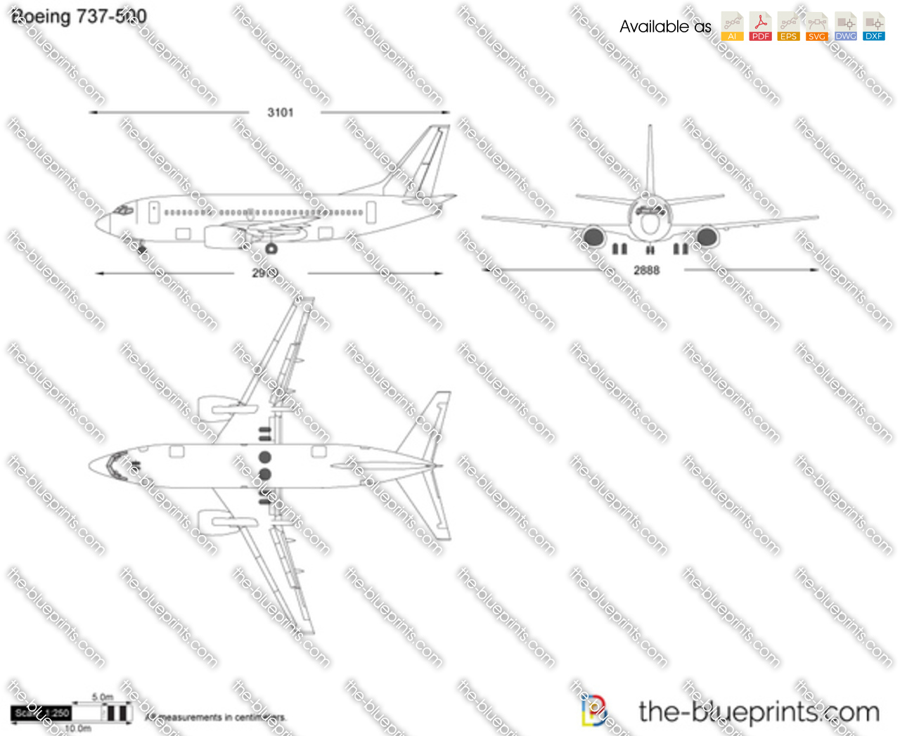 Boeing 737-500 vector drawing