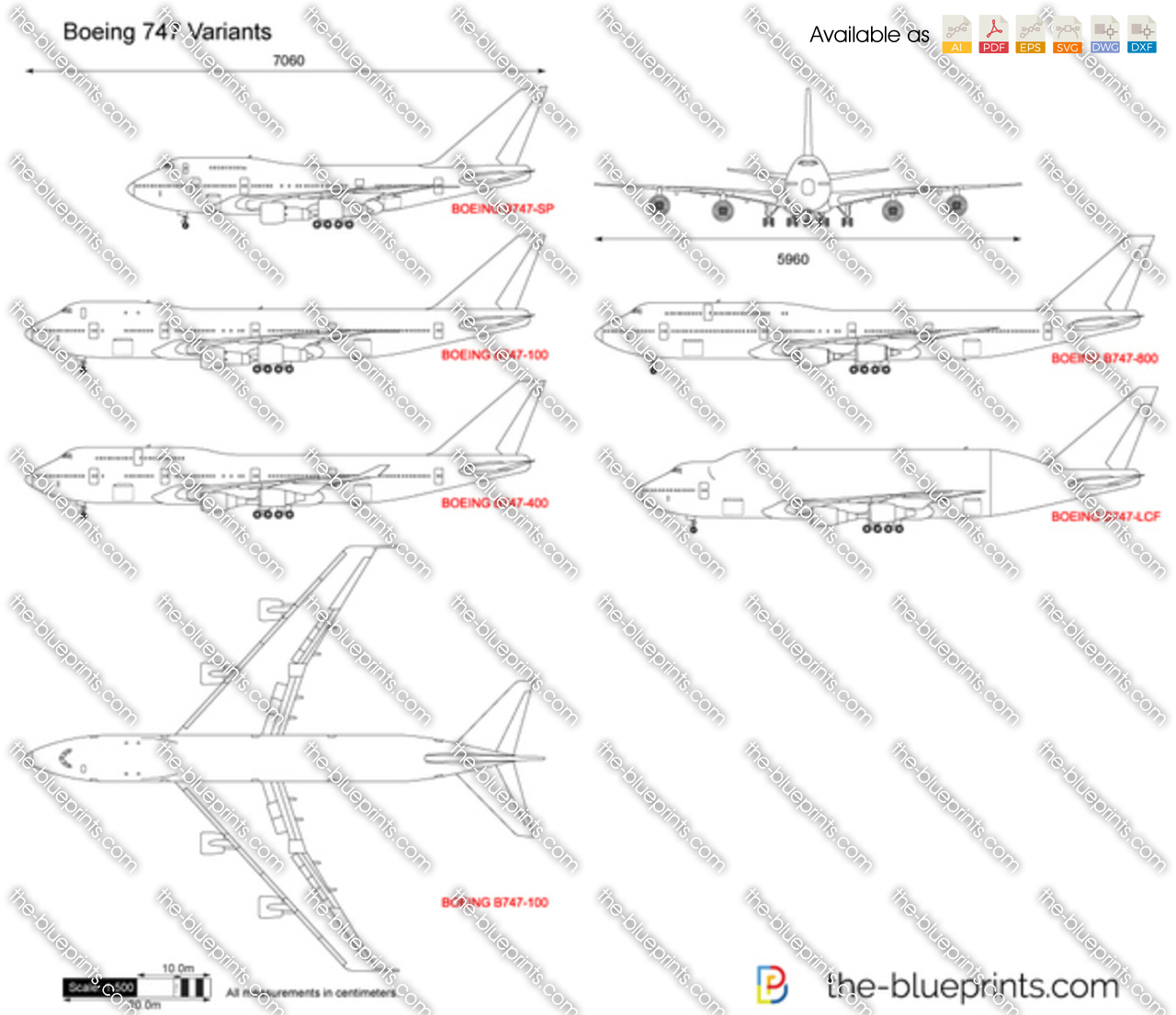 Boeing 747 variants vector drawing for Where to get blueprints