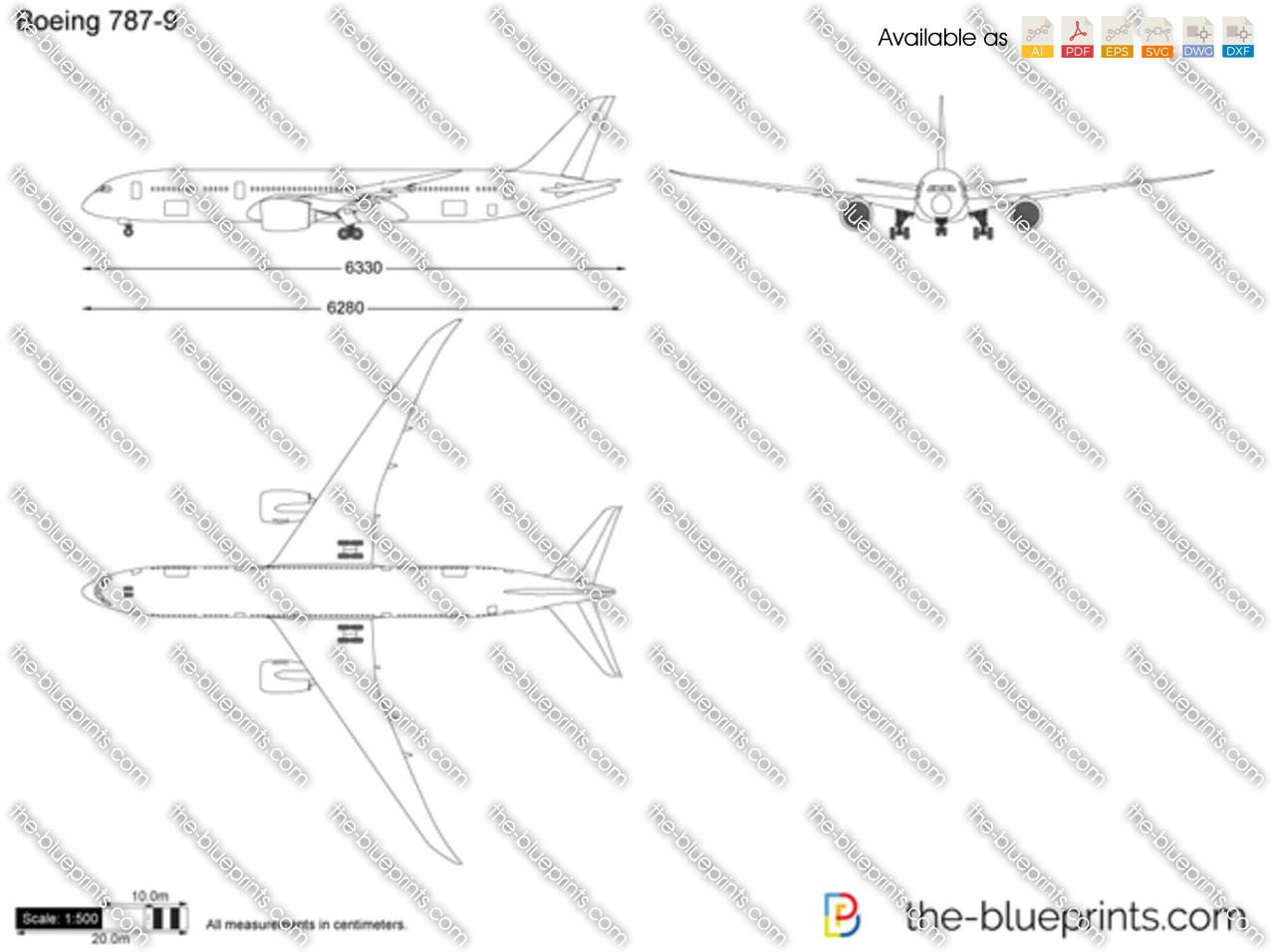 The Vector Drawing Boeing 787 9