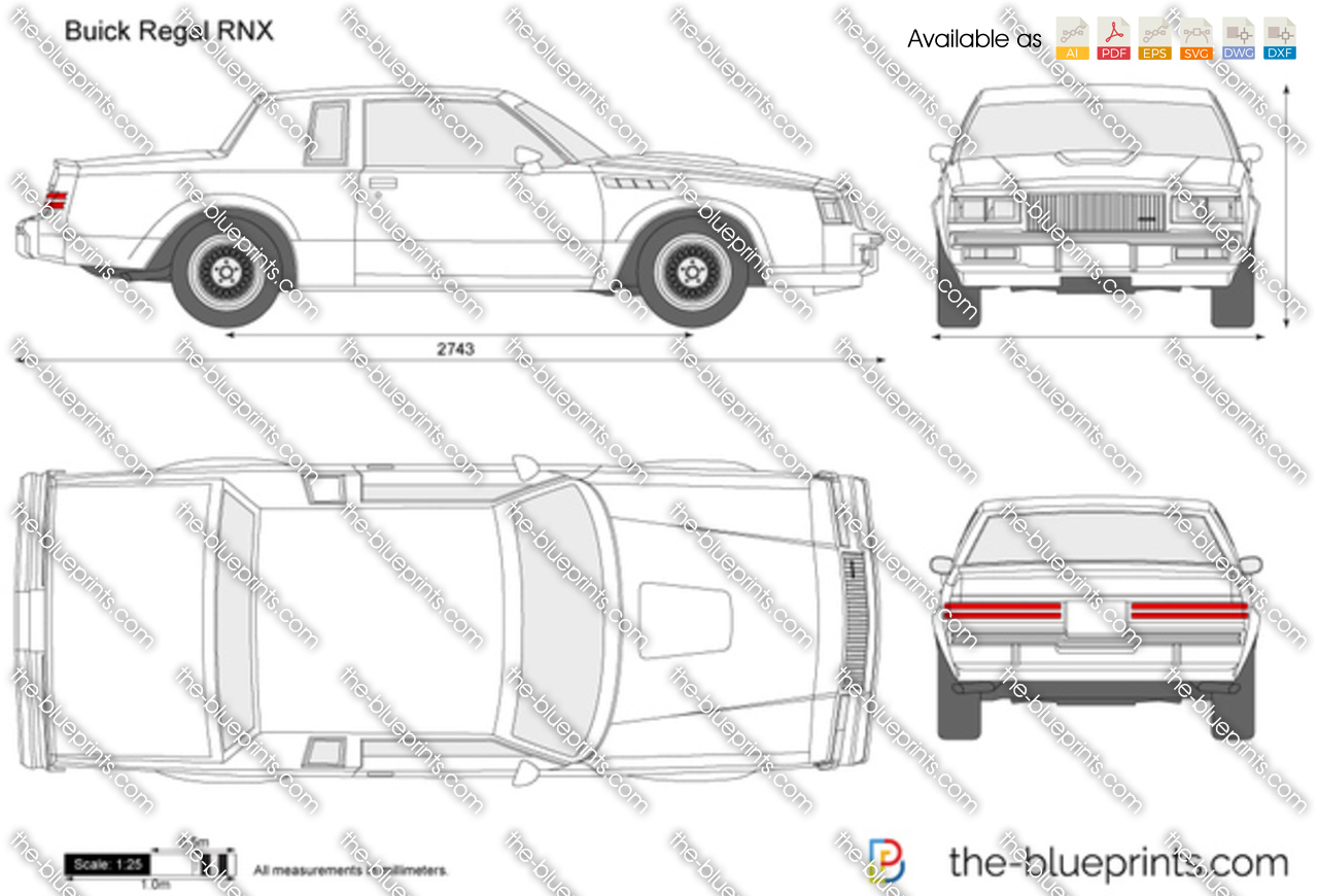 buick regal rnx vector drawing