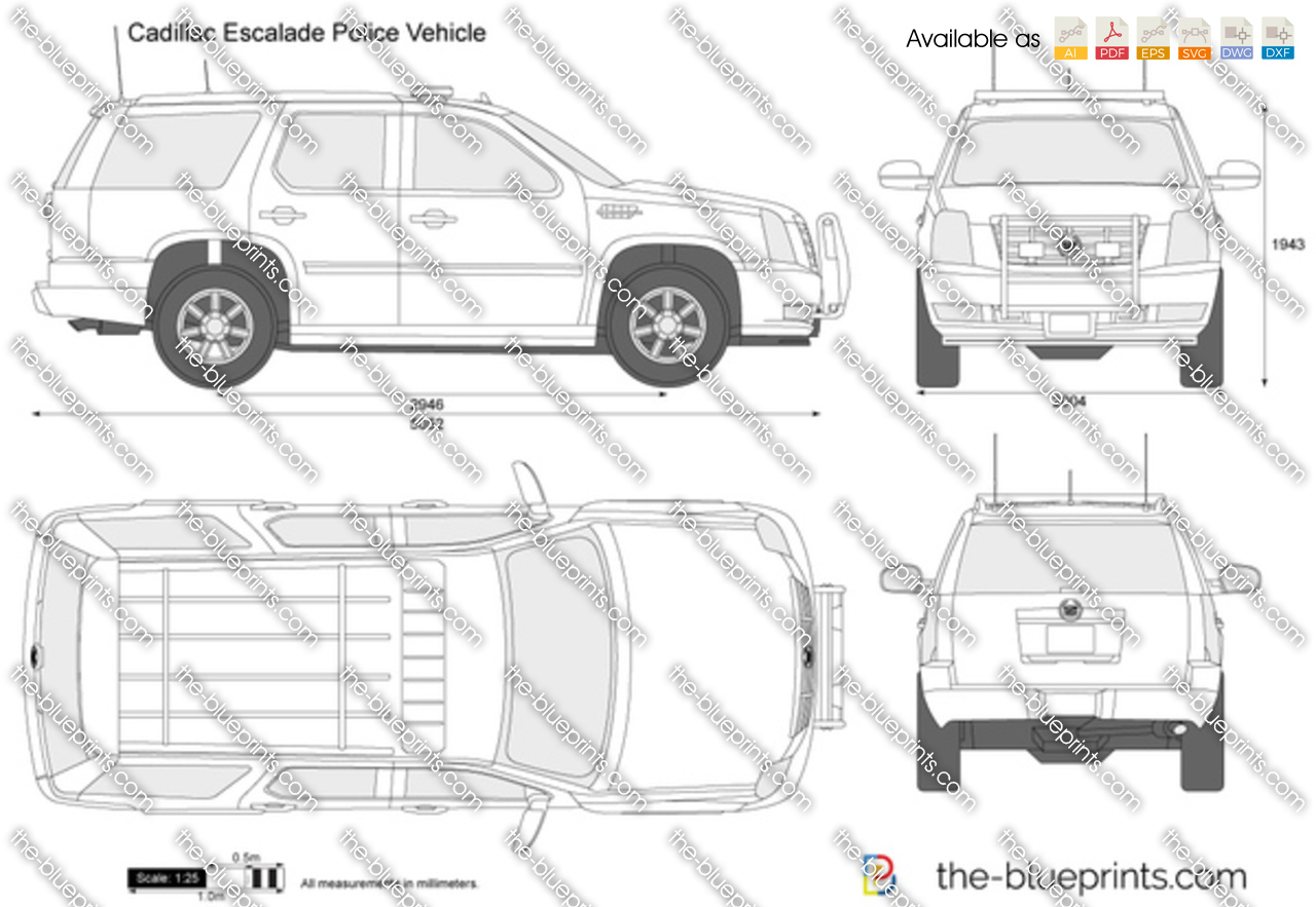 cadillac escalade police vehicle vector drawing