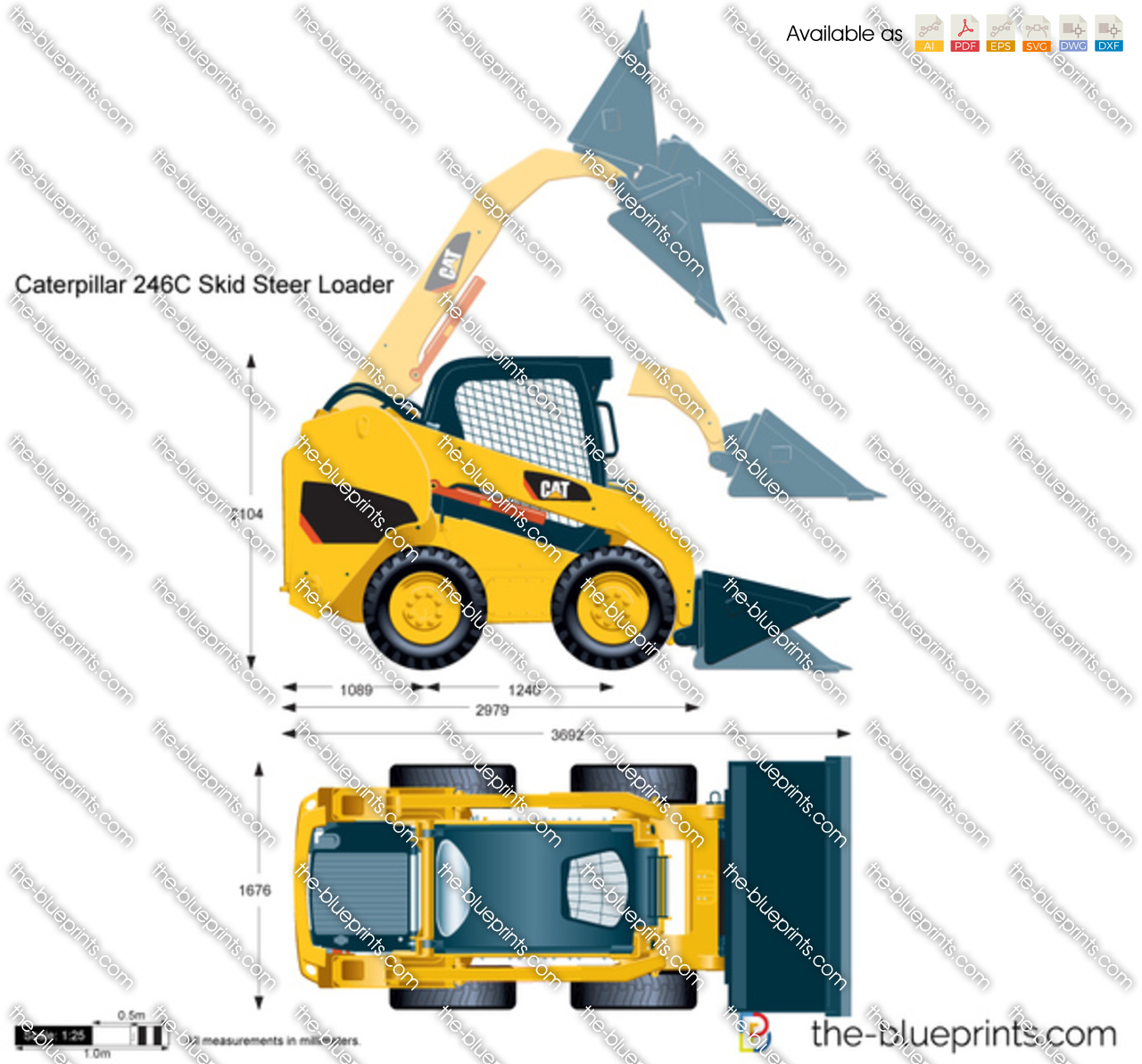 Caterpillar 246C Skid Steer Loader vector drawing