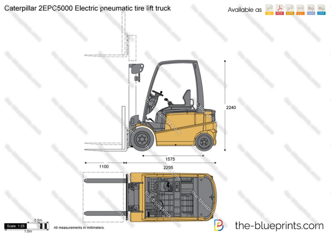 Caterpillar 2EPC5000 Electric pneumatic tire lift truck