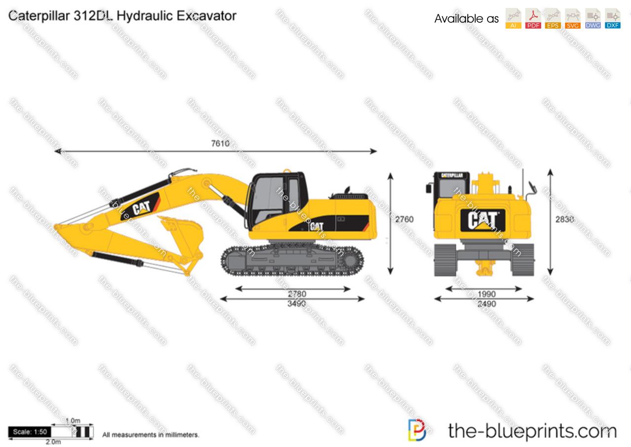 the vector drawing caterpillar 312dl. Black Bedroom Furniture Sets. Home Design Ideas