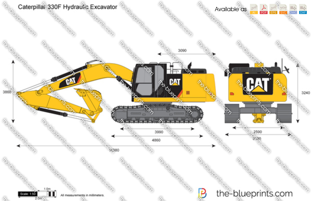 Caterpillar 330F Hydraulic Excavator vector drawing