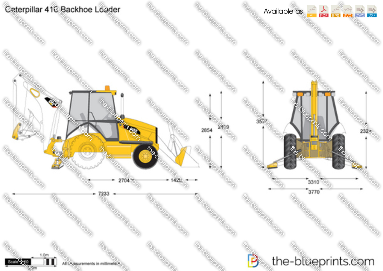 The blueprints com vector drawing caterpillar 416 backhoe loader