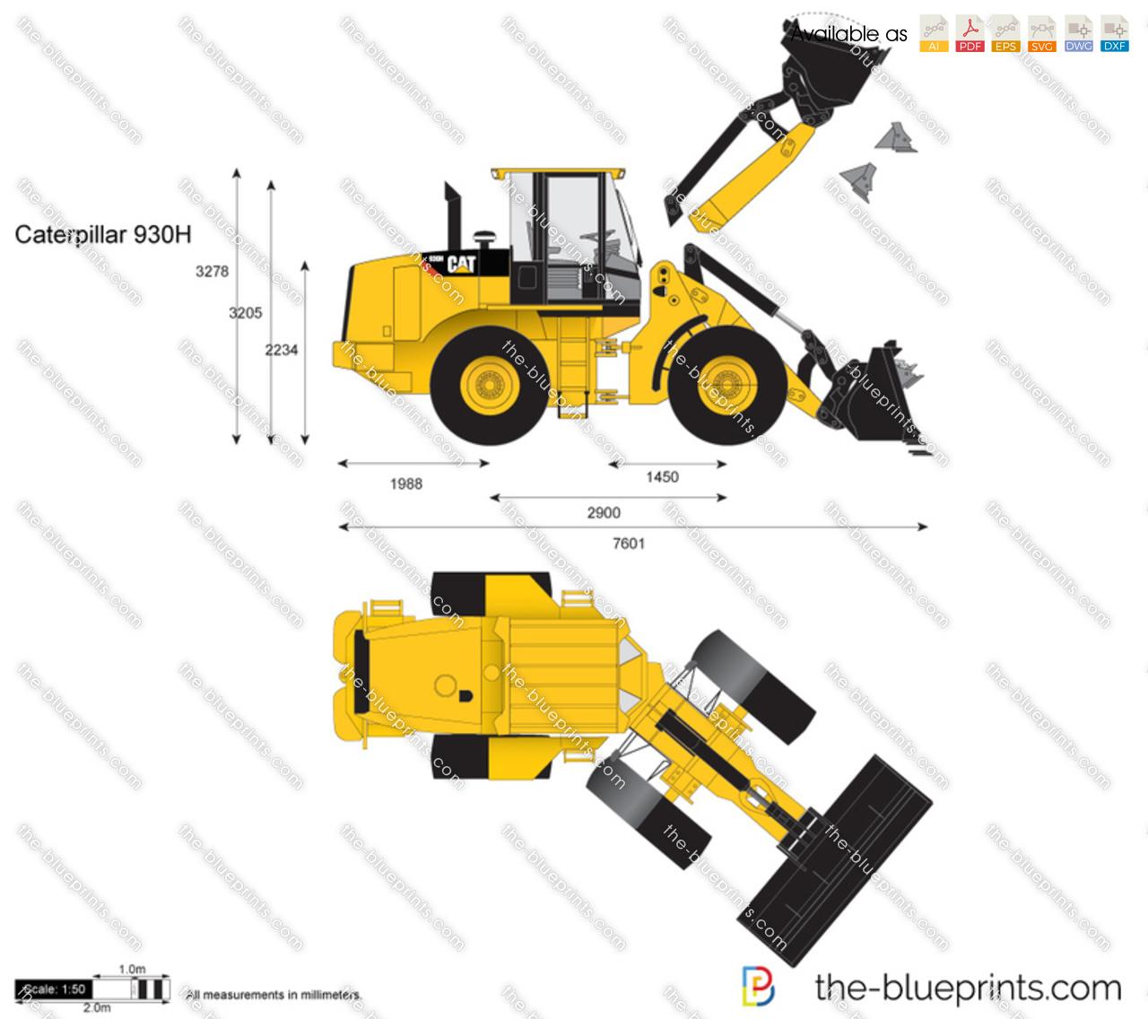 The blueprints com vector drawing caterpillar 930h wheel loader