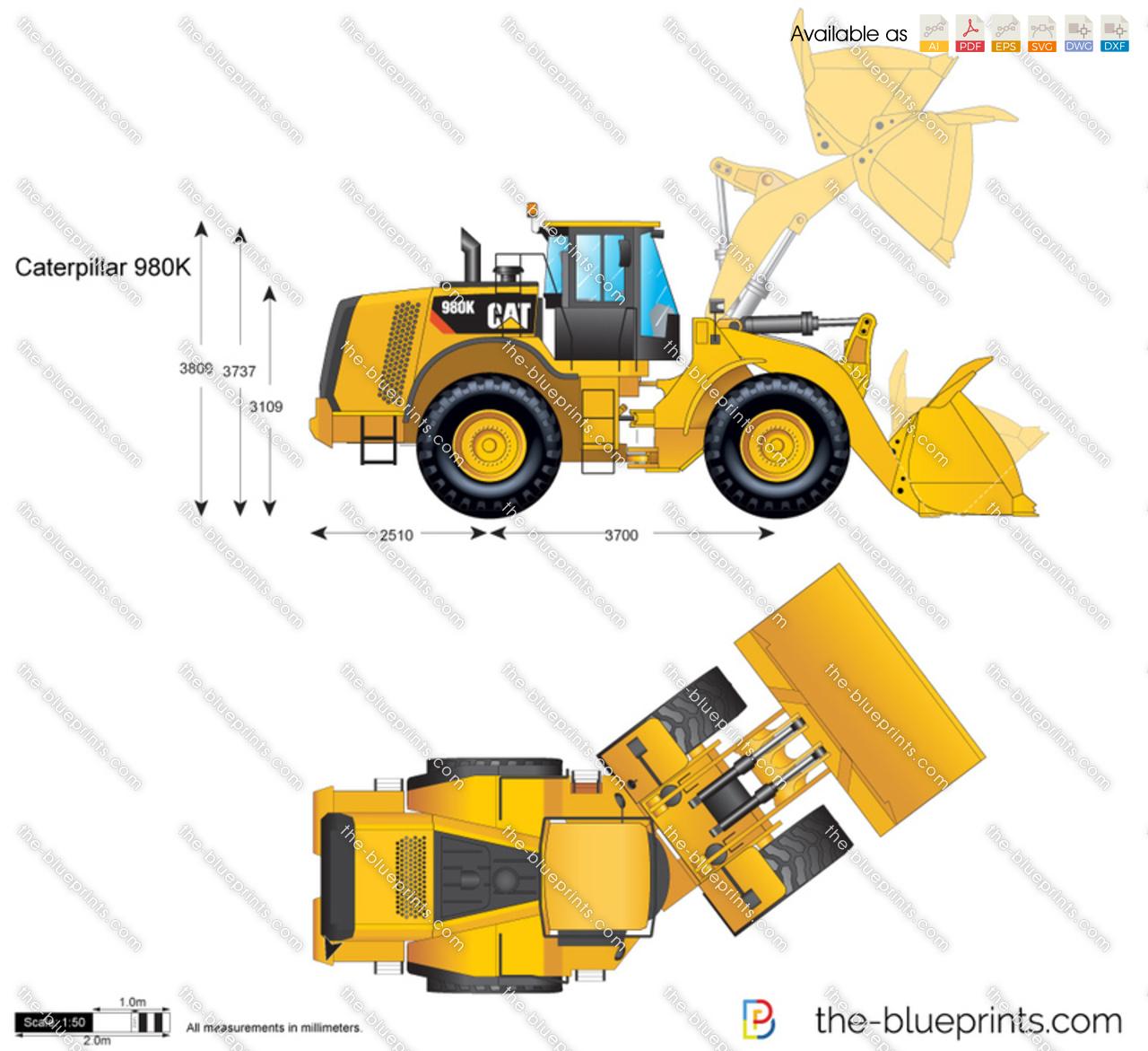 Caterpillar 980k Wheel Loader Vector Drawing