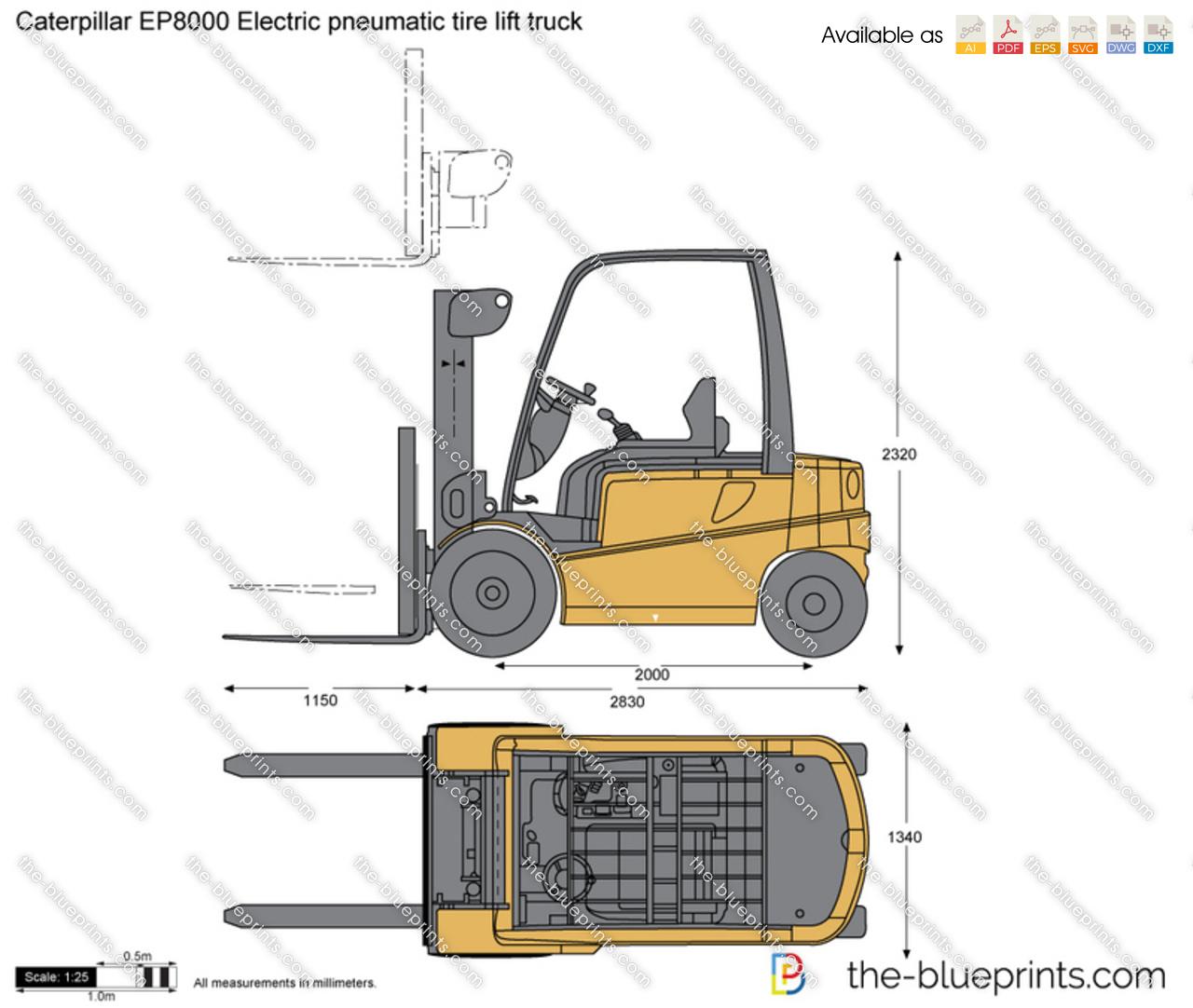 Caterpillar EP8000 Electric pneumatic tire lift truck
