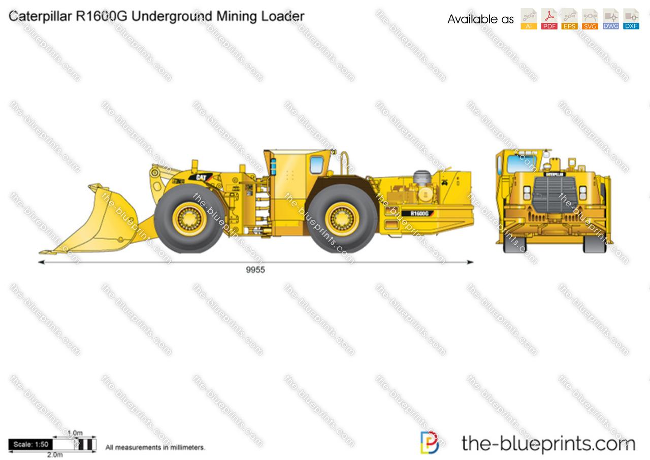 Caterpillar r1600g underground mining loader vector drawing
