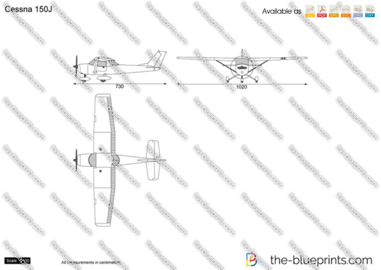 cessna 150j vector drawing