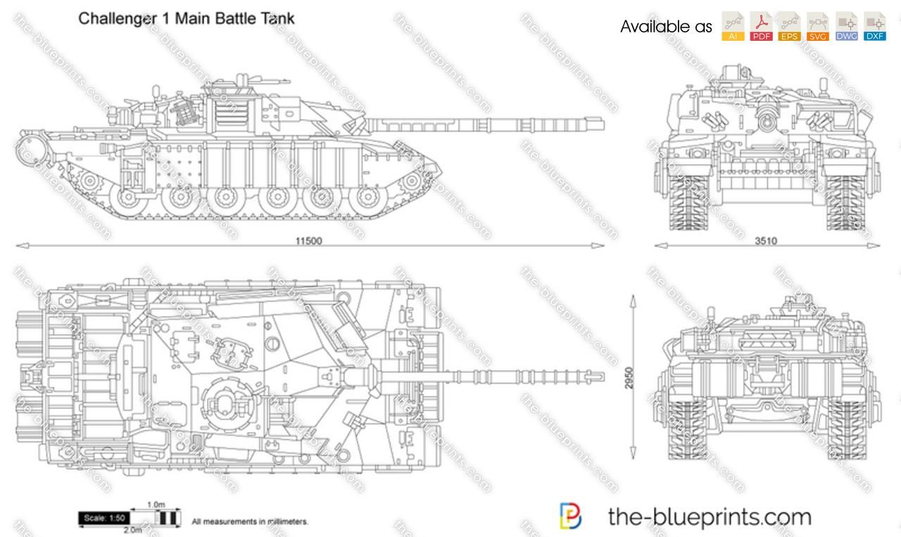The-Blueprints.com - Vector Drawing - Challenger 1 Main Battle Tank