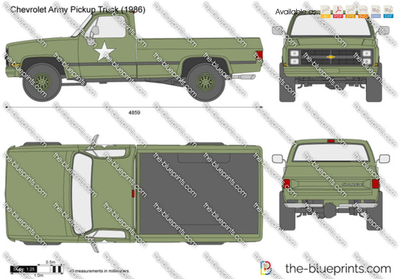 Chevrolet Army Pickup Truck Vector Drawing