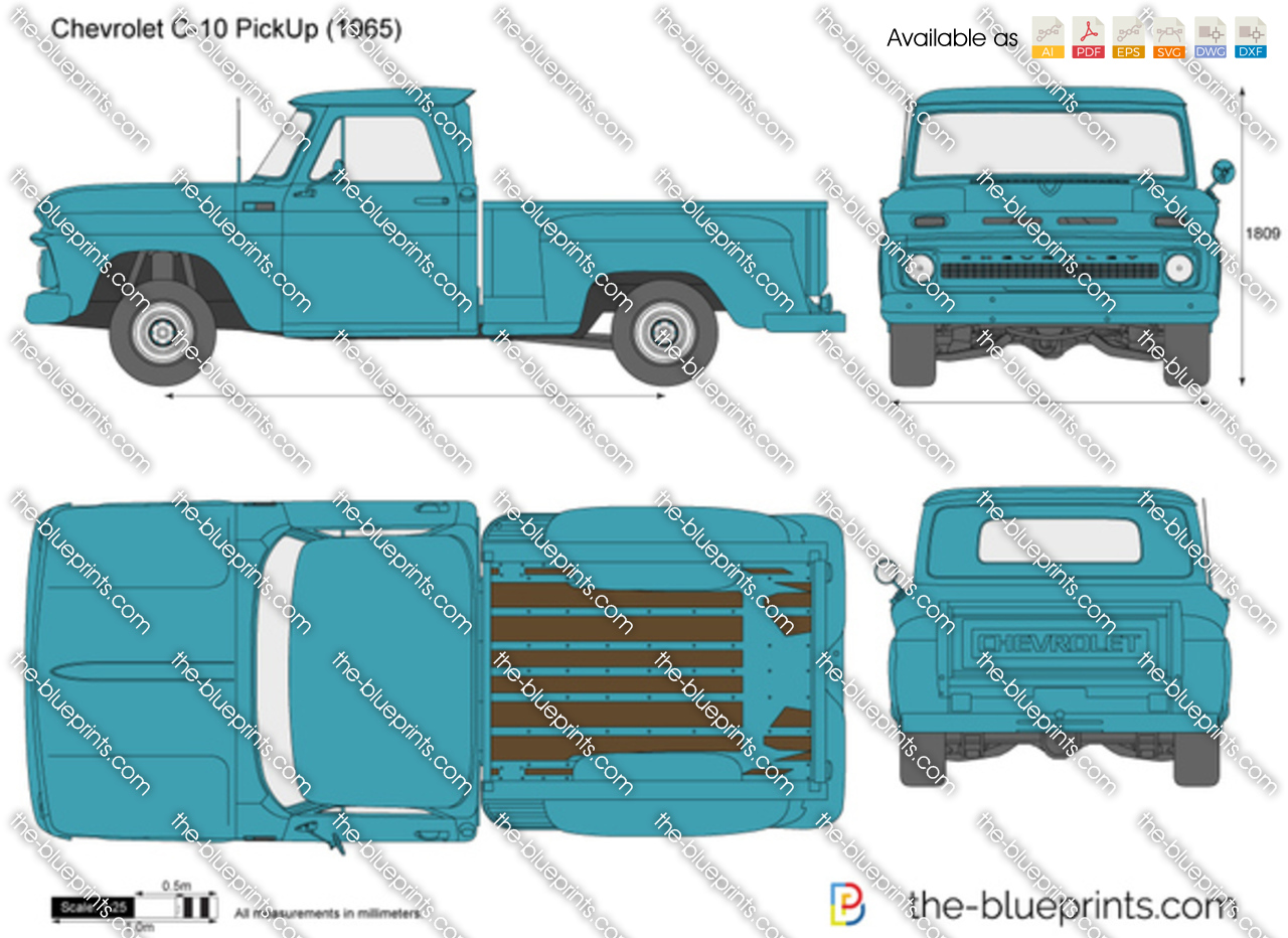 Chevrolet C 10 Pickup Vector Drawing