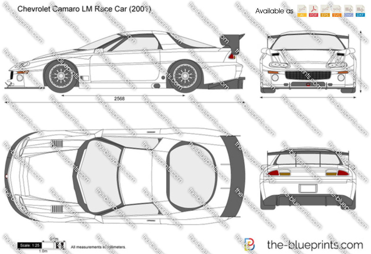 The blueprints vector drawing chevrolet camaro lm race car chevrolet camaro lm race car malvernweather Choice Image