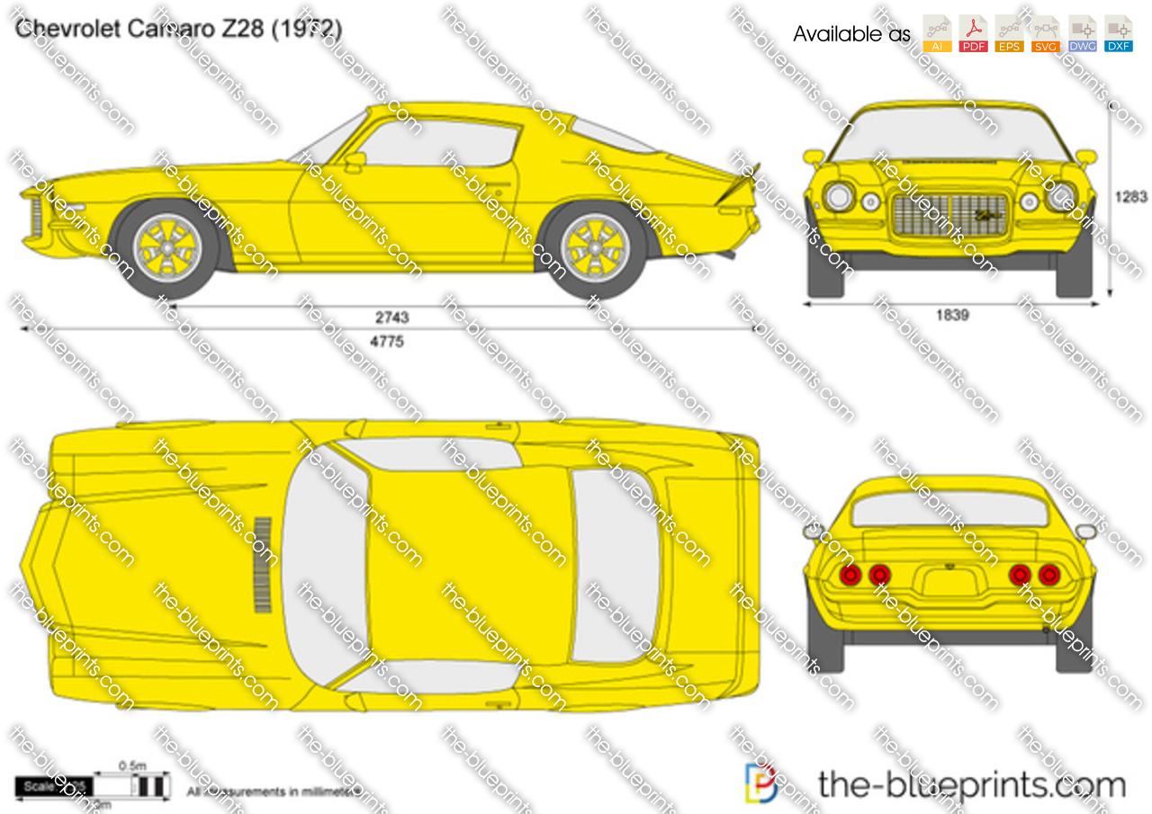 Chevrolet Camaro Z28 Vector Drawing