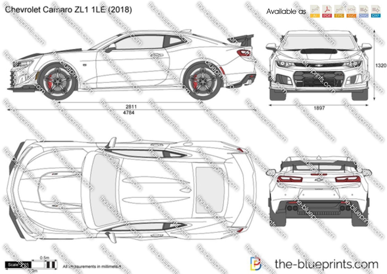 The-Blueprints.com - Vector Drawing - Chevrolet Camaro ZL1 1LE
