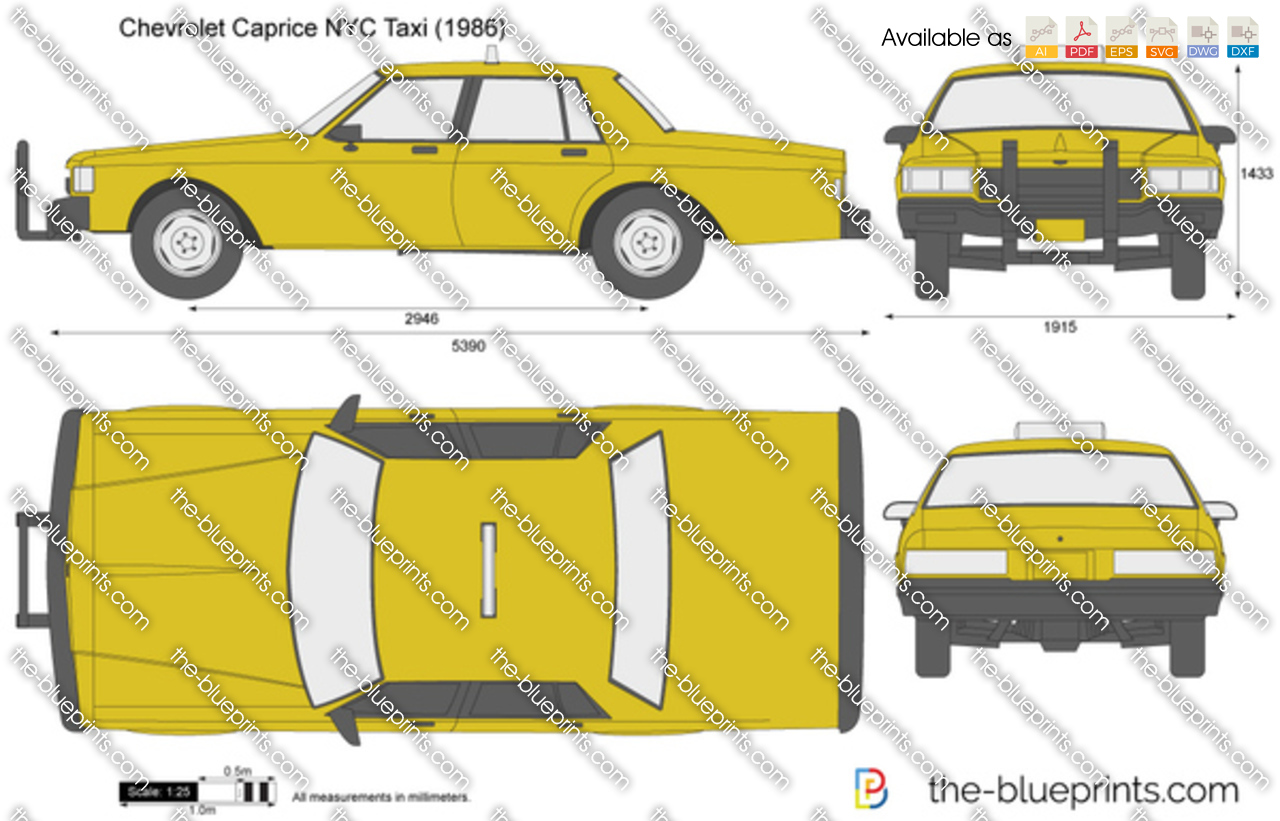 Chevrolet Caprice Nyc Taxi Vector Drawing
