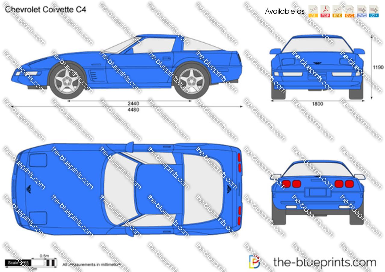 The Blueprints Com Vector Drawing Chevrolet Corvette C4