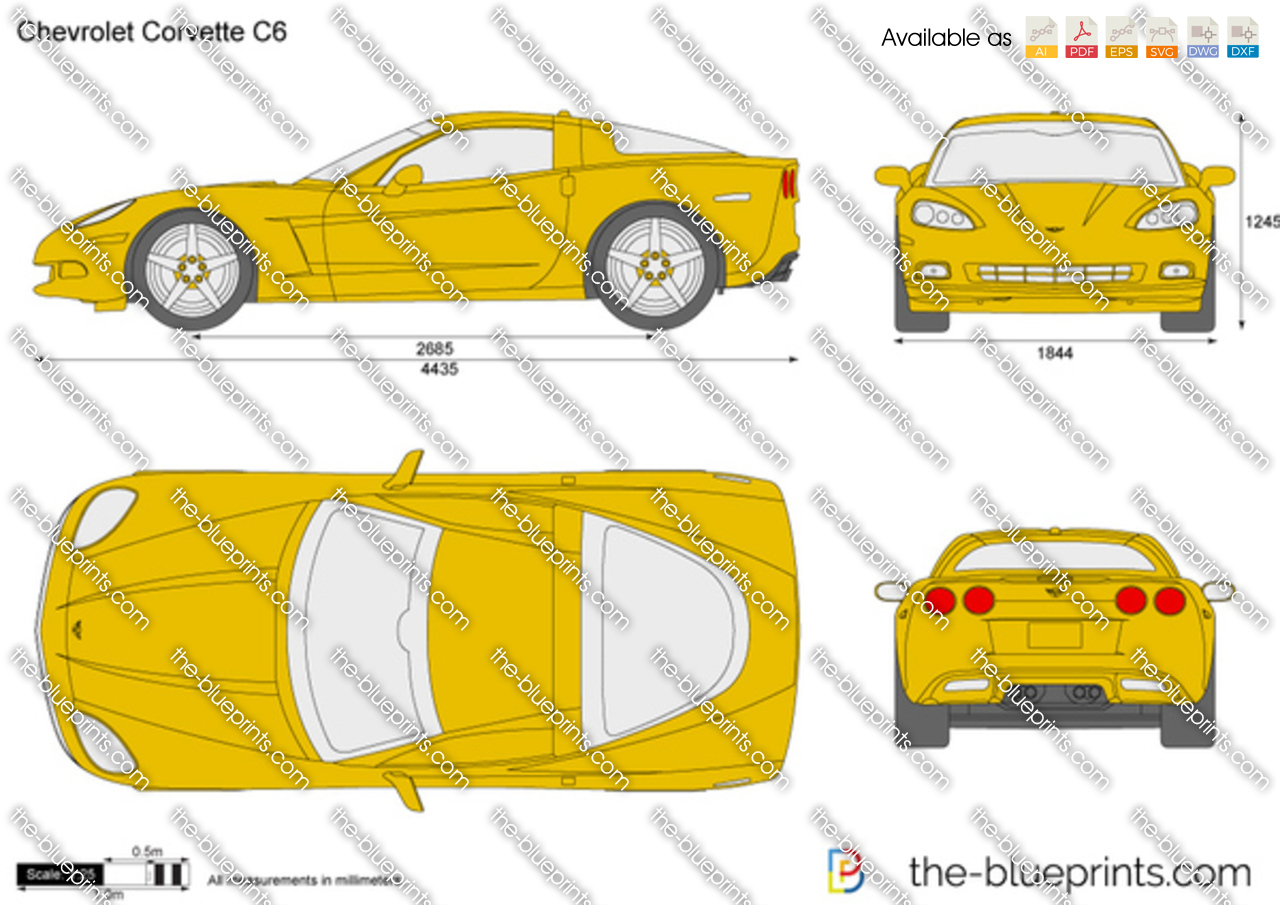 Chevrolet Corvette C6 Vector Drawing