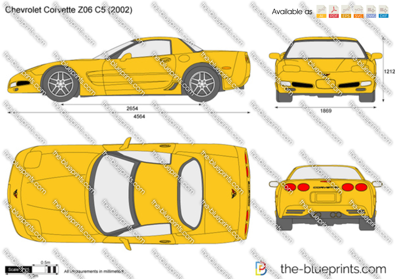 chevrolet corvette z06 c5 vector drawing