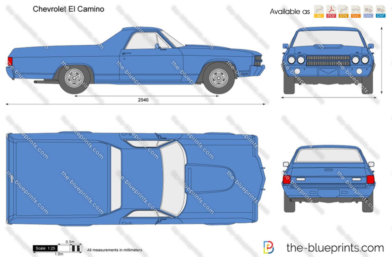 Chevrolet El Camino Vector Drawing 1968 Chevy