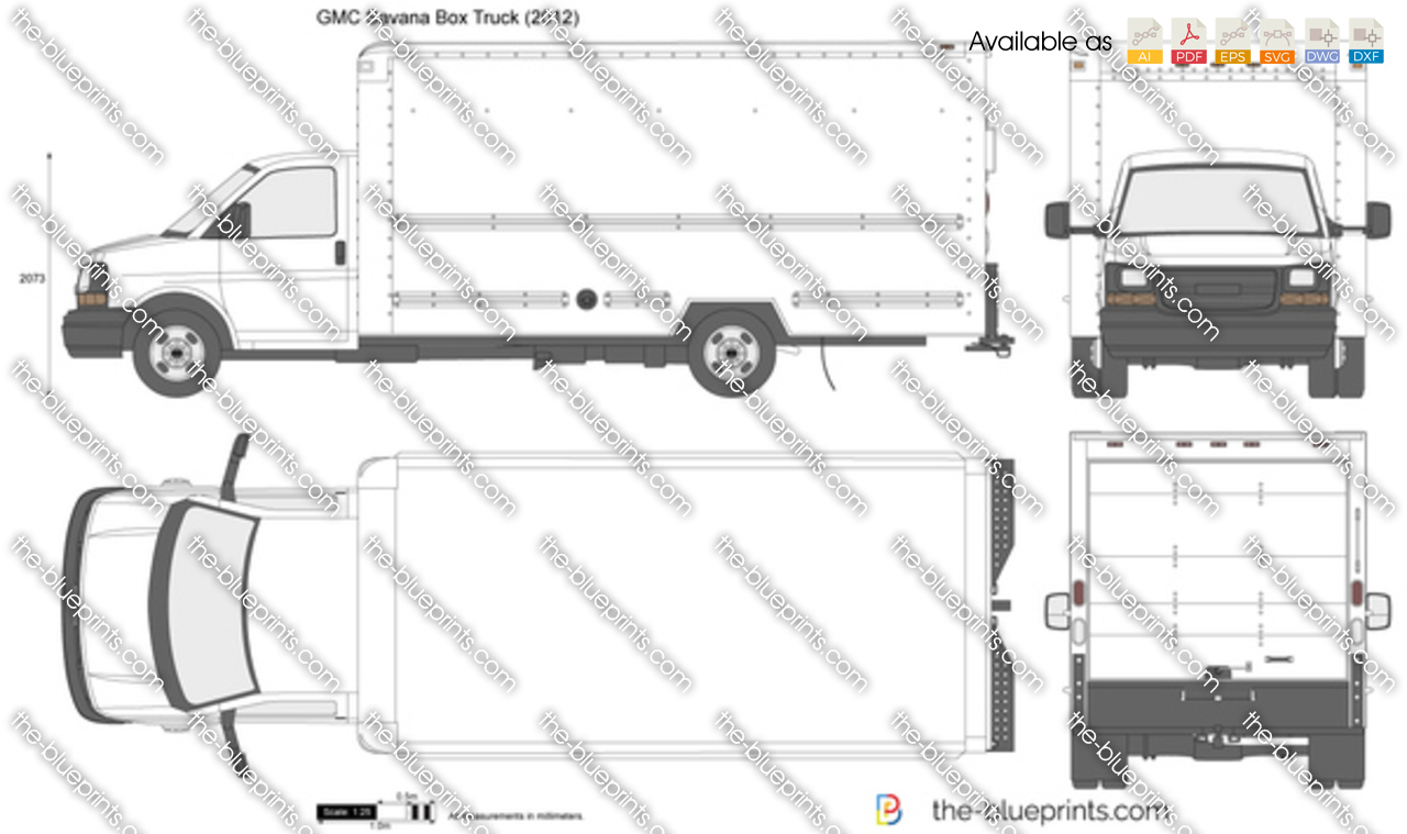 Chevrolet Express Box Truck Vector Drawing