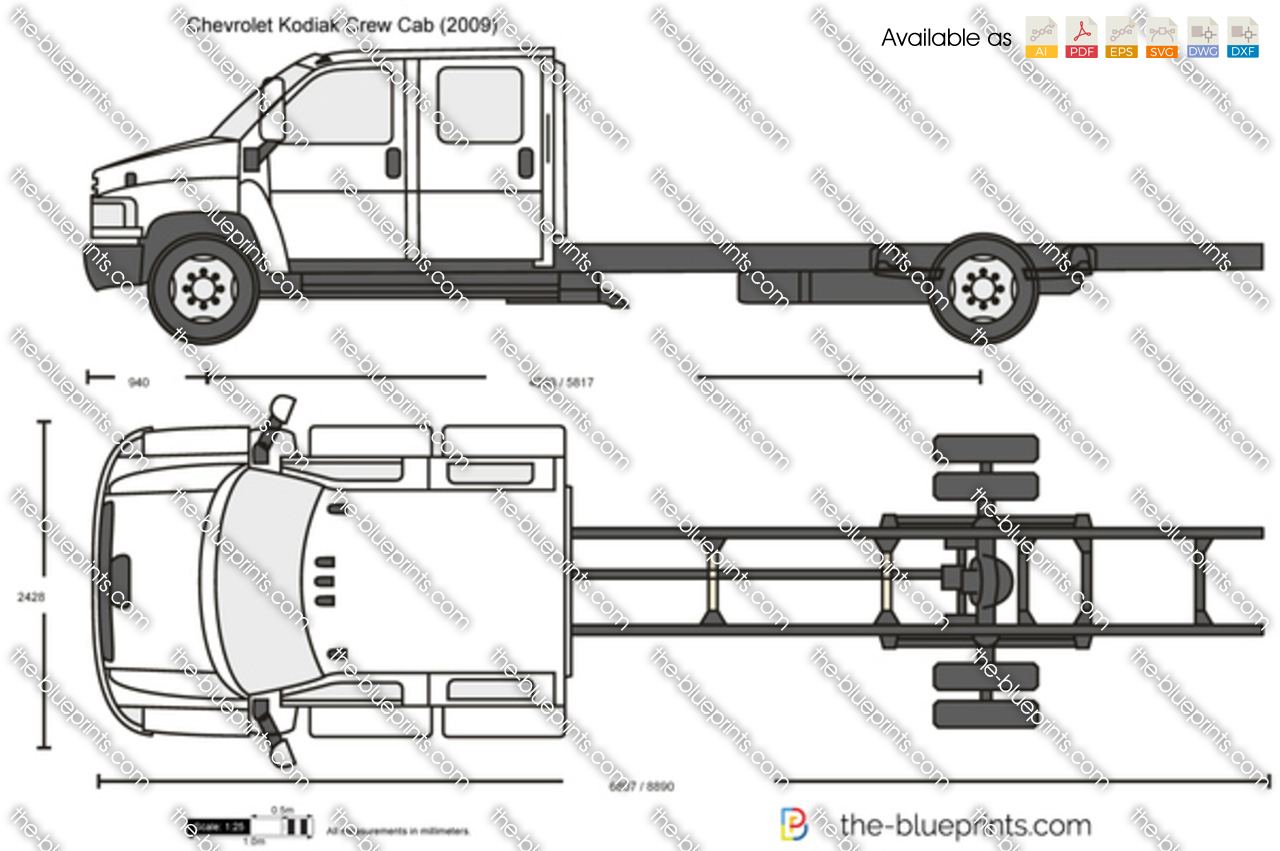 chevrolet kodiak crew cab vector drawing