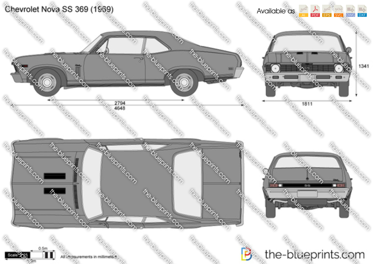 Chevrolet Nova Ss 396 Vector Drawing
