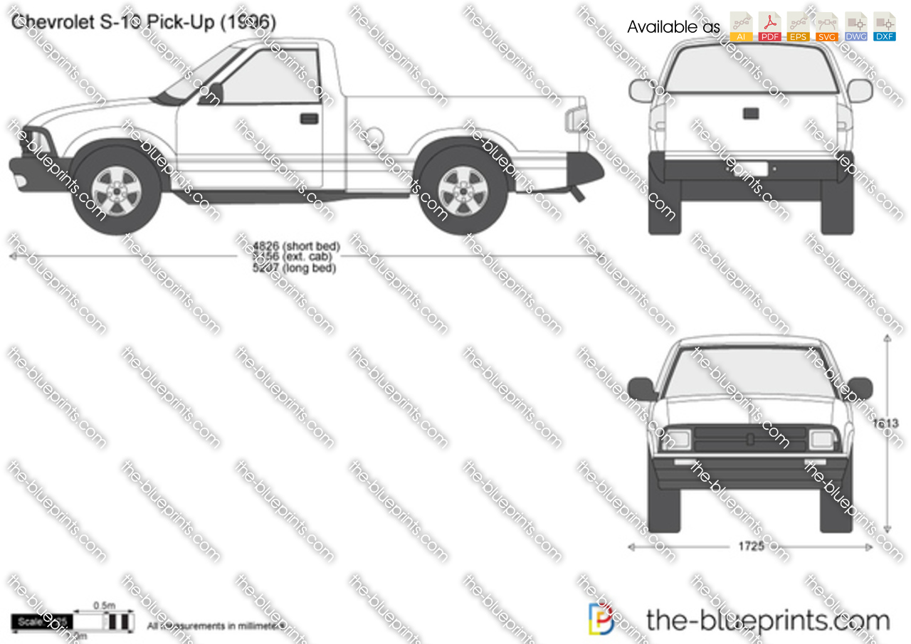 Chevrolet S 10 Pick Up Vector Drawing