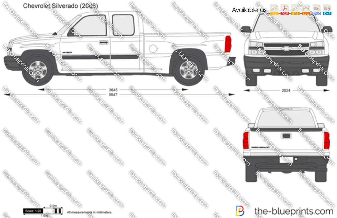 The-Blueprints.com - Vector Drawing - Chevrolet Silverado