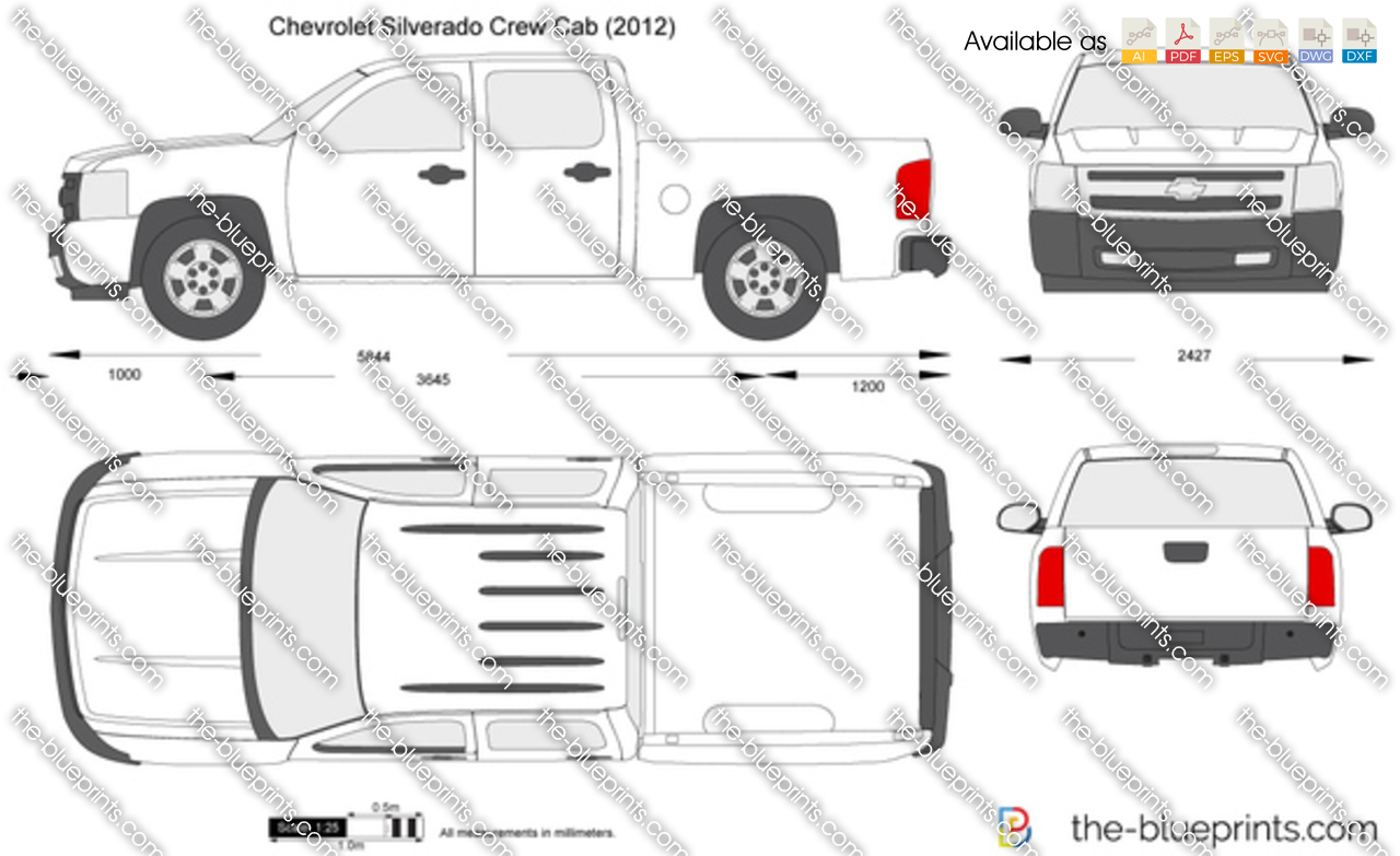 chevrolet silverado crew cab vector drawing