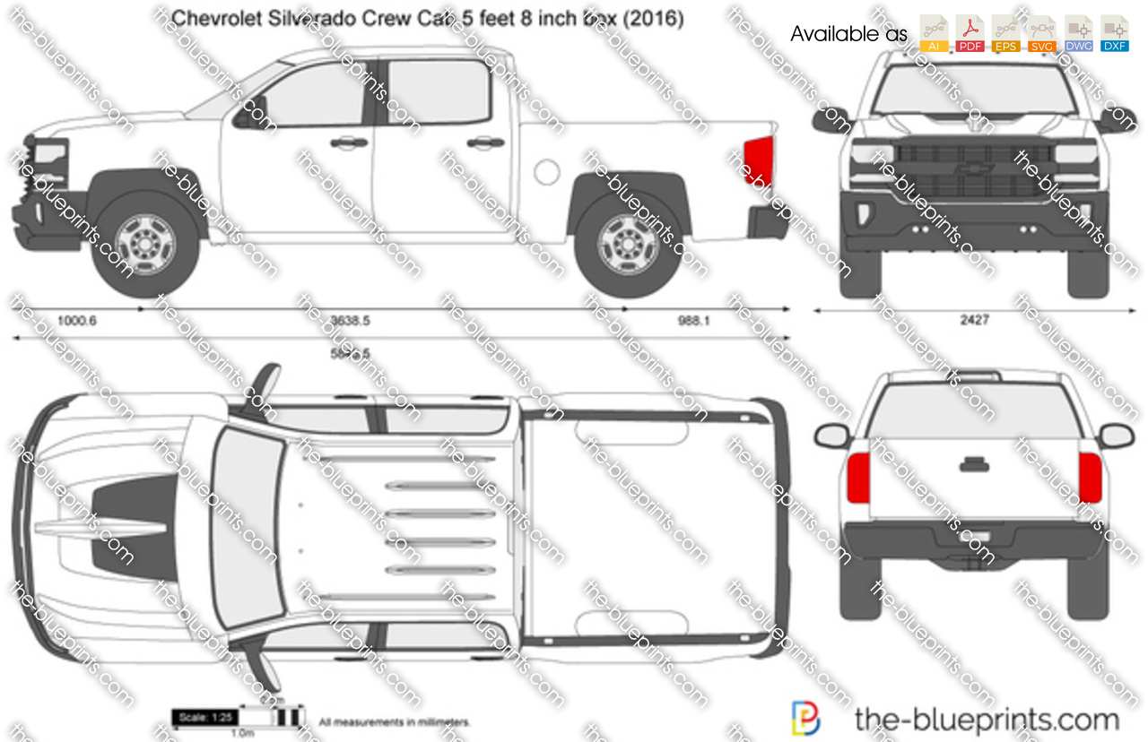 chevrolet silverado crew cab 5 feet 8 inch box vector drawing