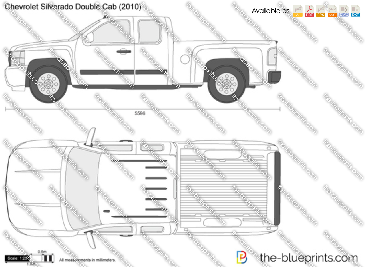 chevrolet silverado double cab vector drawing