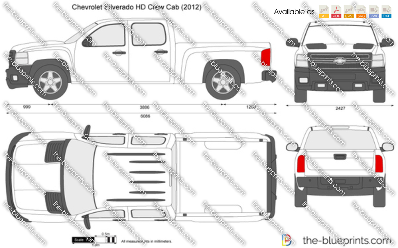 chevrolet silverado hd crew cab vector drawing