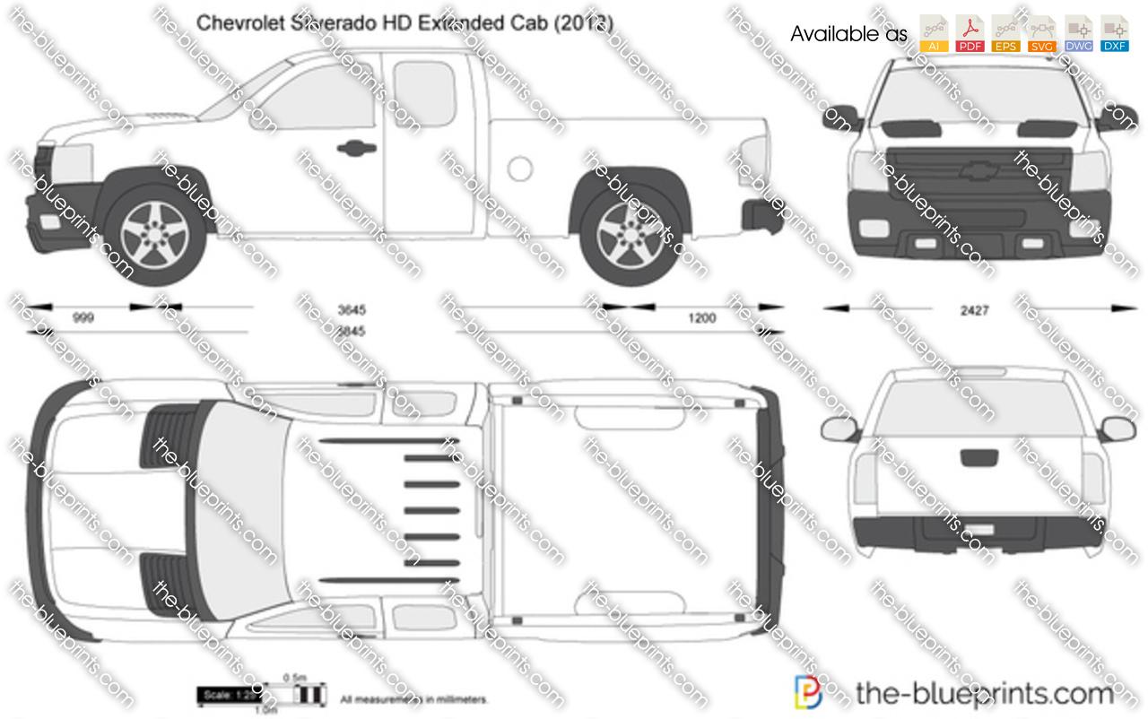 chevrolet silverado hd extended cab vector drawing