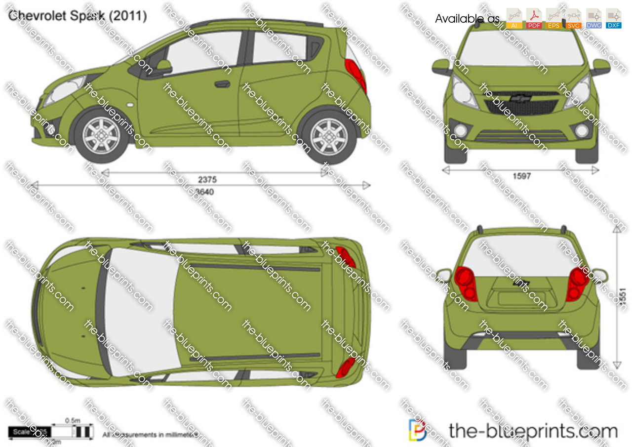 Chevrolet Spark Vector Drawing