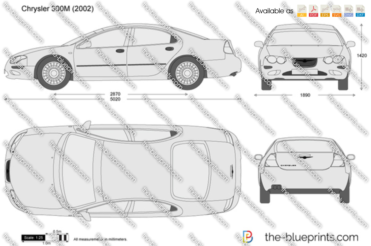 chrysler 300m vector drawing