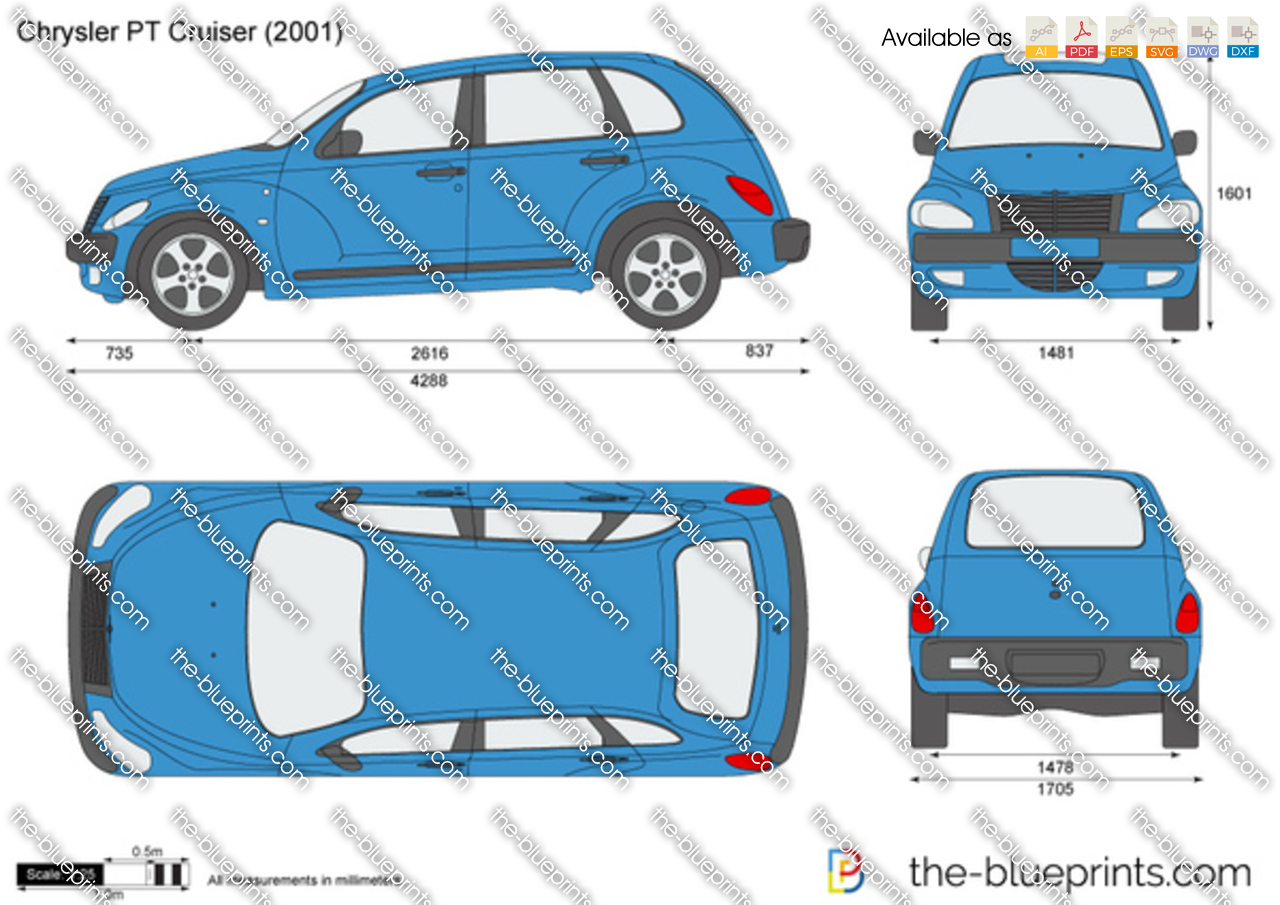 Chrysler Pt Cruiser Vector Drawing