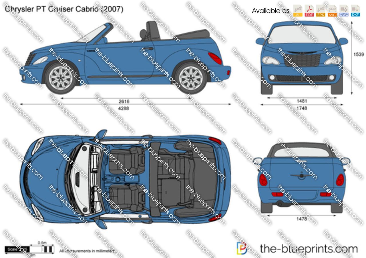 chrysler pt cruiser cabrio vector drawing. Black Bedroom Furniture Sets. Home Design Ideas