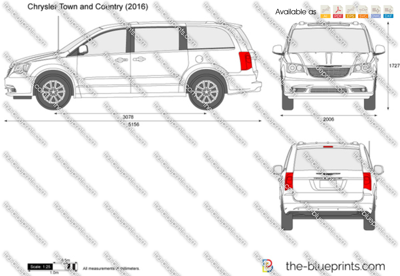 chrysler town and country vector drawing