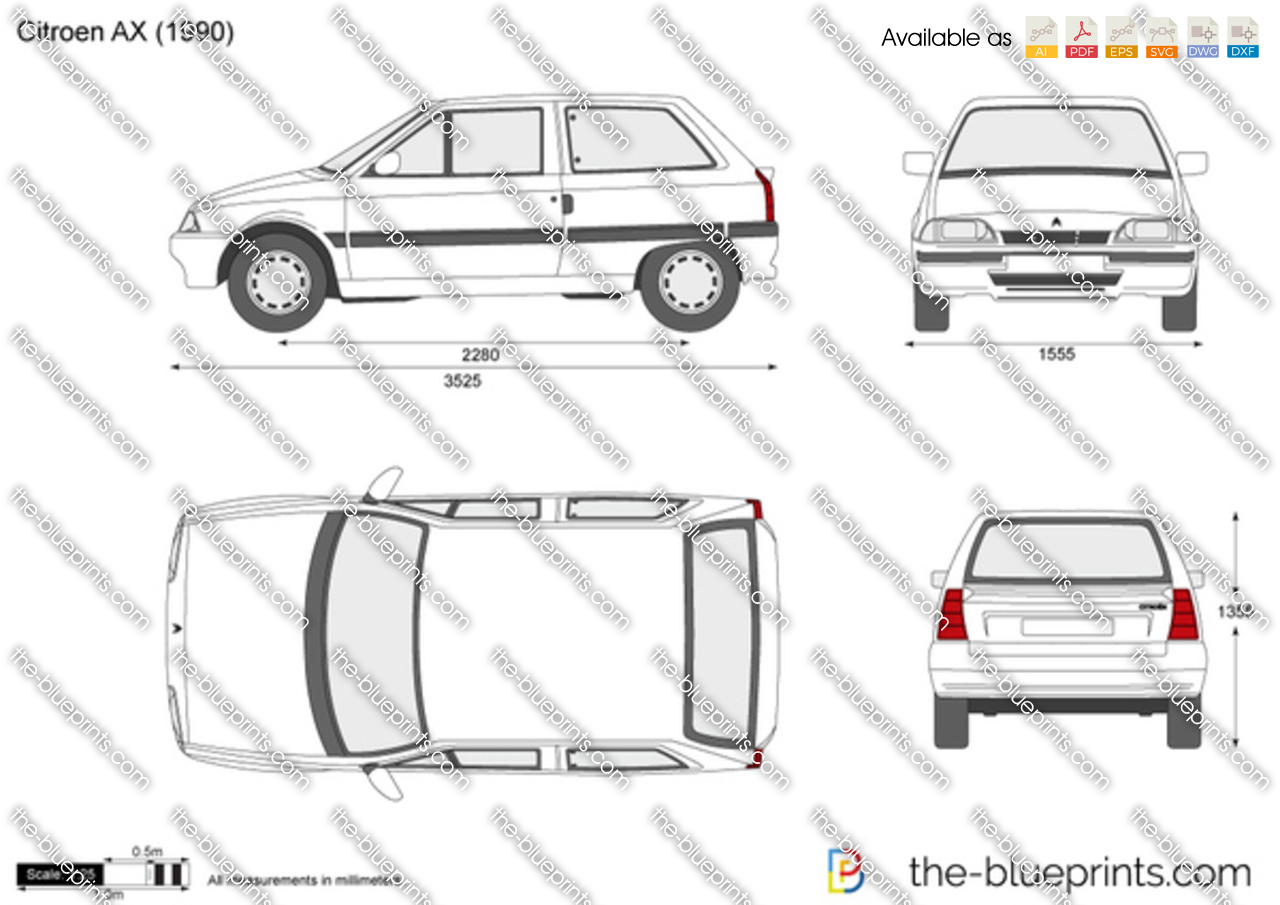 citroen ax vector drawing