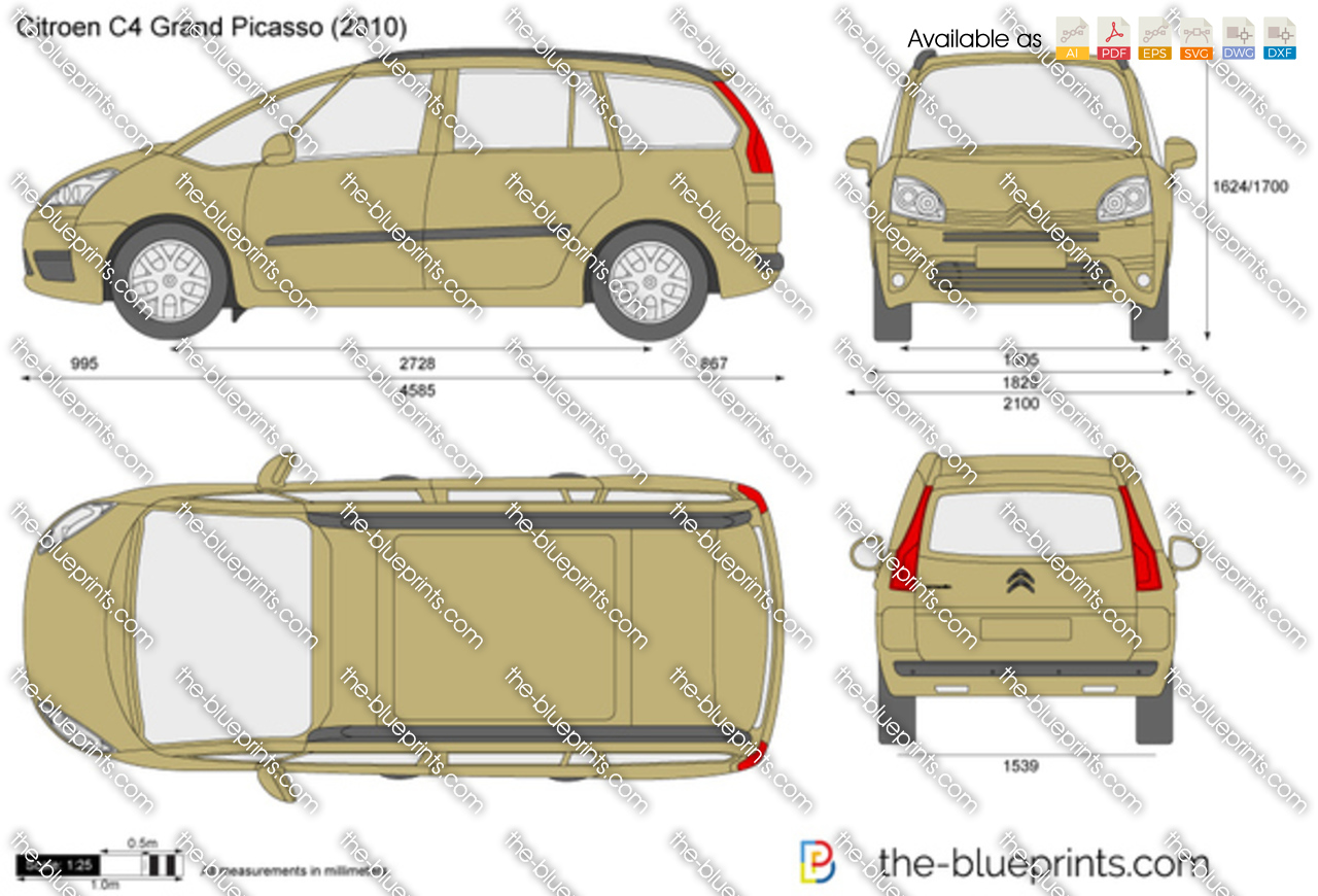 Citroen C4 Grand Picasso Vector Drawing